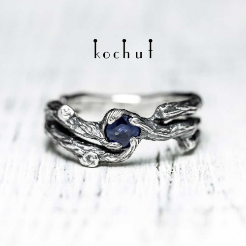 """Ring """"Branch"""". Silver, sapphire, oxidation"""