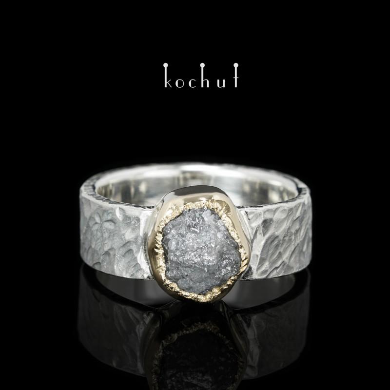 Prsten «Antaios». Stříbro, zlato, diamant