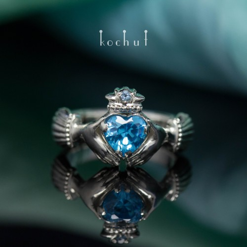 The Claddagh Ring. Silver, topaz, white rodium