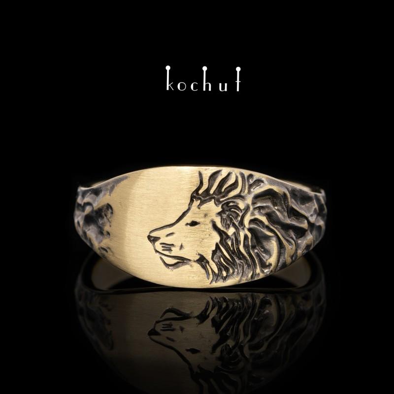 Prsten «Lev». Žluté zlato, černé rhodium
