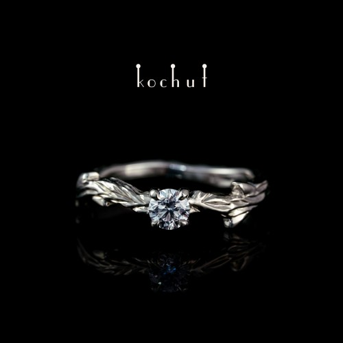 """Ring """"The March Branch"""". White gold, diamond"""