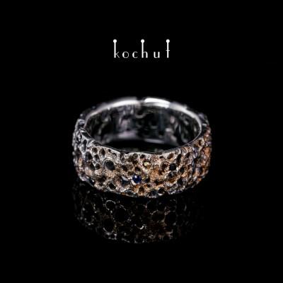 Ring «Asteroidengürtel», Sterlingsilber, Gold-Cladding, Saphire, schwarzer Spinell, Rauchtopas