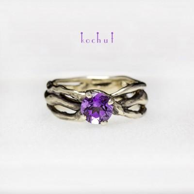 Prsten «Hvězdička moje». Bílé zlato, ametyst, černé rhodium