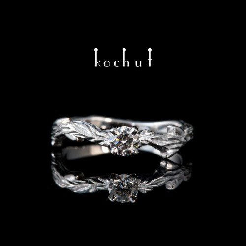 Ring «March twig. Classic». White gold, diamond