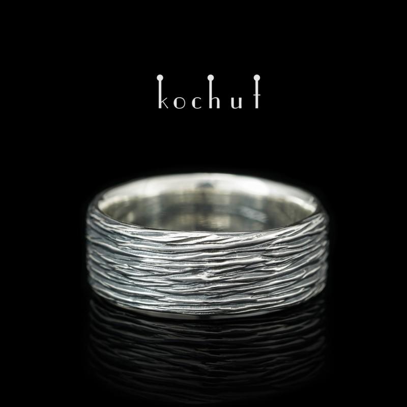 Prsten «Kůra stromu». Stříbro, oxidace