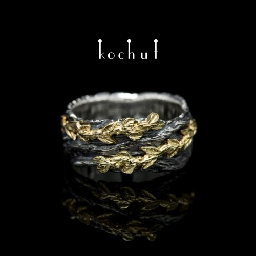 """The male ring """"The Power of Life"""". Silver, yellow gold"""