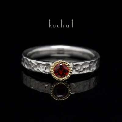 "Ring ""Vitamin"". Silver, gold, garnet"