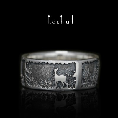 """Ring """"Winter Tale: Deer"""". Silver"""