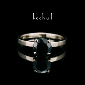 """Ring """"Tenderness of feelings"""". White gold, black spinel"""