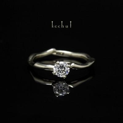 """Помолвочное кольцо  """"Нежные объятия"""". Белое золото, бриллиант"""
