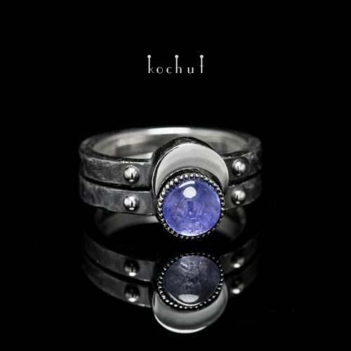 "Double ring ""Moon duet"". Silver, tanzanite"