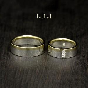 Обручки «Горизонт кохання». Срібло, золото, фіаніт