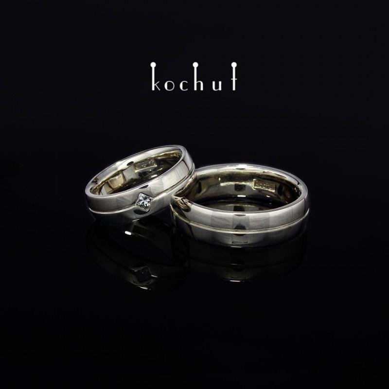 """Обручальные кольца """"Ось любви"""". Белое золото, бриллиант"""