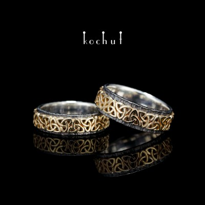 """Обручальные кольца """"Кельтский узор"""". Серебро, желтое золото, оксидирование"""
