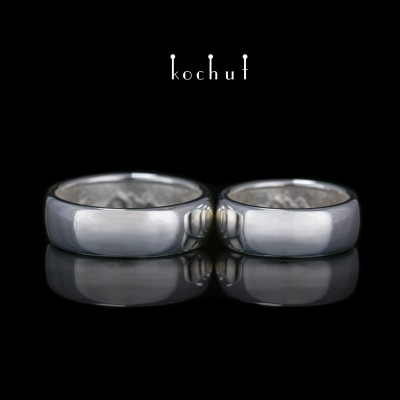 "Wedding rings ""Peaks of Love: Reflection"". Sterling silver, white rhodium"