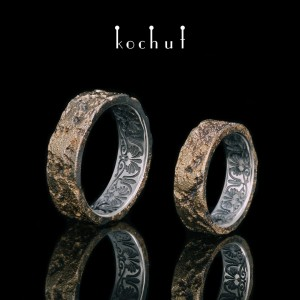 Wedding rings «Soul and body». Silver, fusing yellow gold, oxidation