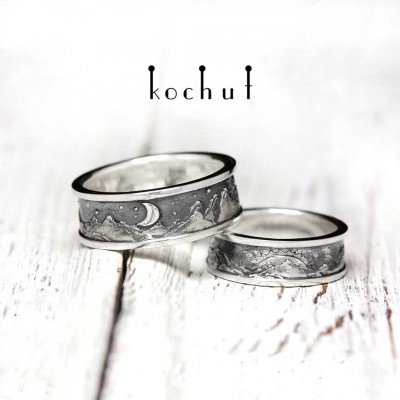 "The wedding rings of ""Peaks of Love: the sun and the moon"". Silver, oxidation"