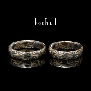 "Wedding rings ""Mokume"". Gold, etched silver"