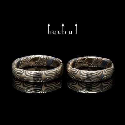 Обручальные кольца мокуме «Орион». Красное золото, травленое серебро