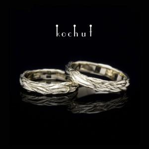 Обручки «Хвилі кохання». Біле золото