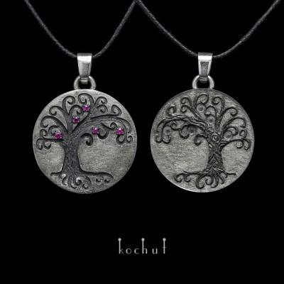Подвійний кулон «Дерево Життя». Срібло, рубіни, оксидування