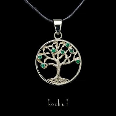 Přívěsek «Smaragdový strom». Bílé zlato, smaragdy