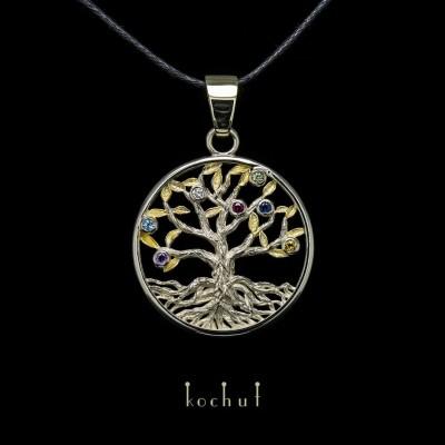 Кулон «Дерево світобудови». Біле золото, позолота, дорогоцінні камені