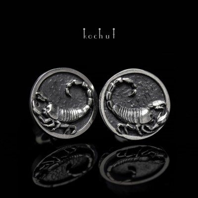 Earrings «Scorpion» pouches. Silver, oxidation