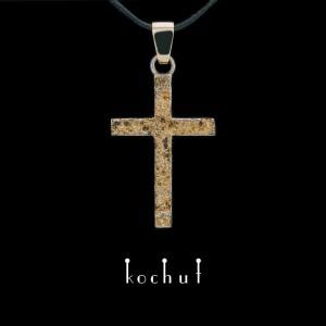 Хрестик «Душа і тіло» двосторонній. Срібло, жовте золото