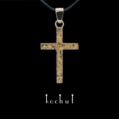 Cross «Soul and body» double-sided. Silver, yellow gold