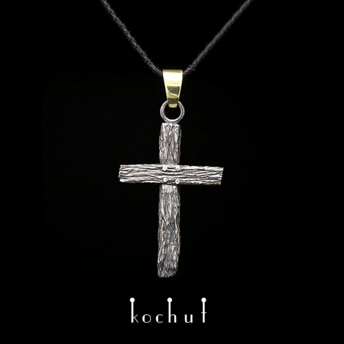 """The cross """"Life-giving"""". Silver, gold, oxidation"""