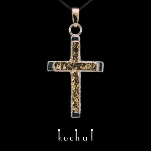 """The cross """"Strength of Faith"""". Silver, yellow gold"""