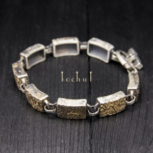 Male bracelet «Soul and body». Silver, gold, oxidation