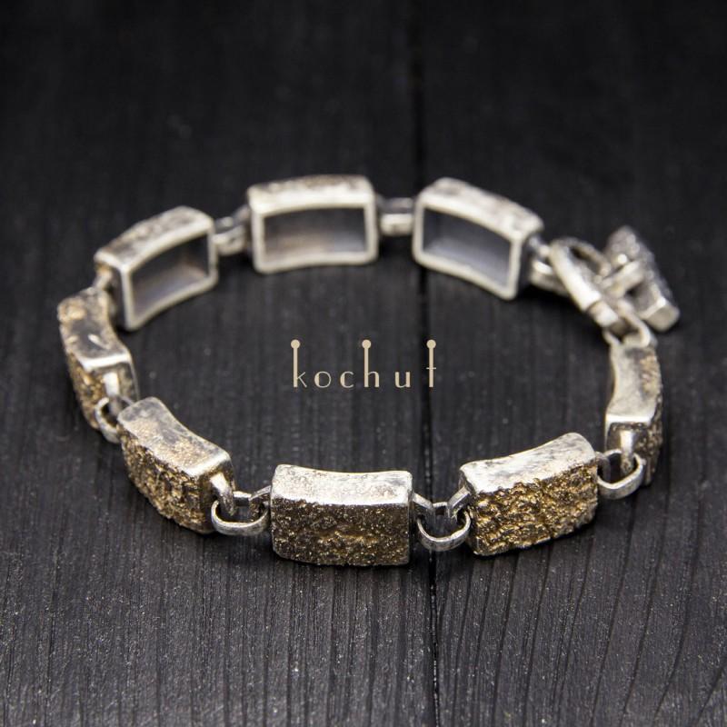 Чоловічий браслет «Душа і тіло». Срібло, золото, оксидування