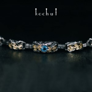 """Bracelet """"The Power of Life"""". Silver, gold, sapphires"""