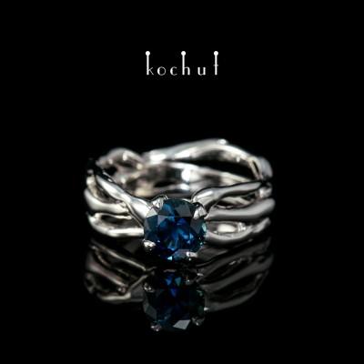 Prsten «Hvězdička moje». Bílé zlato, bílé rhodium, safír