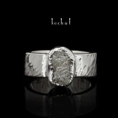 """Ring """"Meine Seele"""". Weißgold 750, Rohdiamant, Rhodium-Beschichtung"""
