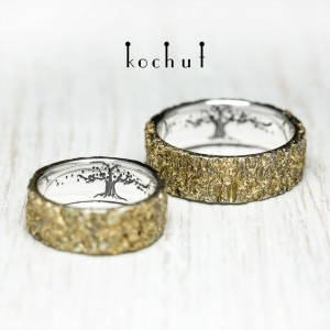"""Wedding rings """"A bark with a tree of life in the middle"""". Silver, Melting Gold"""