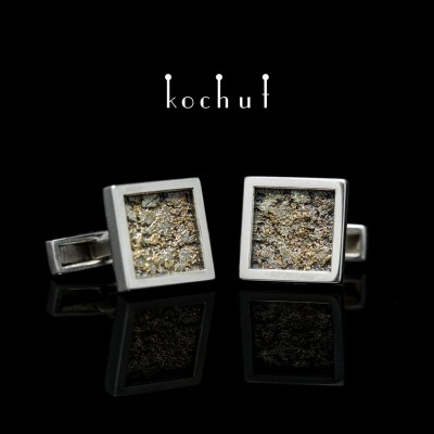 """Cufflinks """"Soul and body."""" Silver, Melting Gold, oxidation"""