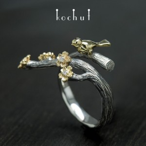 """Ring """"Bird and flowers"""". Silver, gold, diamonds"""