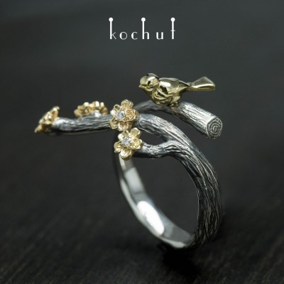 "Ring ""Bird and flowers"". Silver, gold, diamonds"