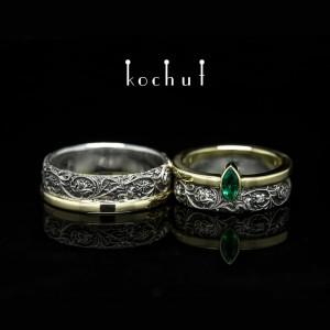 """Обручки """"Гармонія природи"""". Срібло, золото, смарагд, діаманти"""