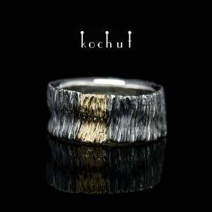 "Male ring ""Sign of light"". Silver, oxidation, gold"