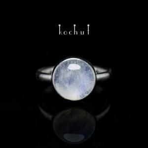 "Ring ""Supermoon"". Silver, white rhodium, moonstone"
