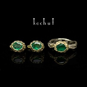 Set «The source oflife.» White, yellow gold, emeralds