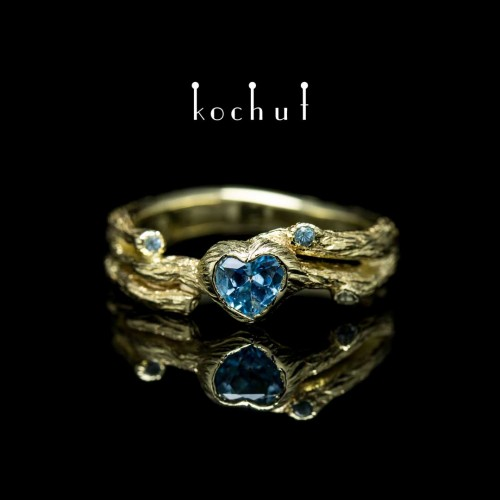 "Ring ""Branch"". Yellow gold, topazes"