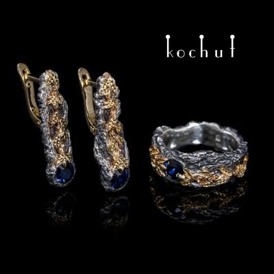"""Комплект """"Сила життя"""": каблучка та сережки. Срібло, золото, сапфіри"""