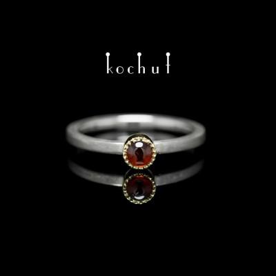 """Ring """"Mars"""". Silver, gold, garnet"""