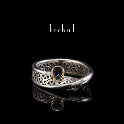 """Ring """"Celtic ribbon of Mobius"""". Silver, gold, sapphire"""