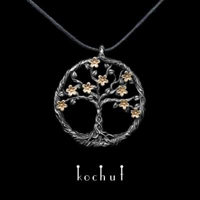 """Кулон """"Квітуче дерево"""". Жовте золото, срібло, оксидування"""